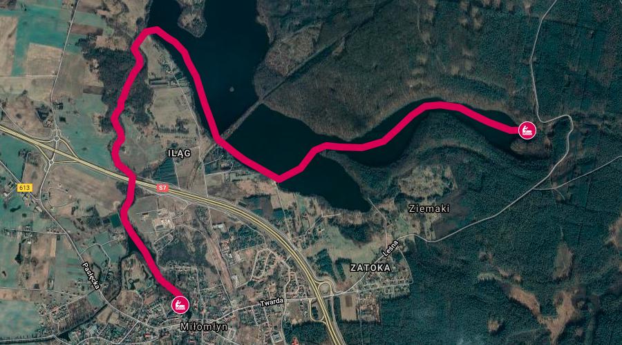 Mapa wyprawy ze szmaragdowej Zatoki Zielonej - doskonałej na spływ kajakowy z dziećmi